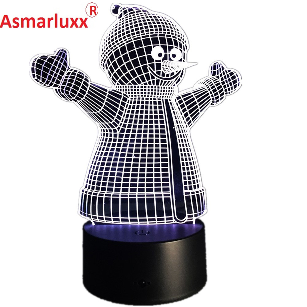 Snowman Shape 3D LED Lamp Happy New year 2017 Christmas Decortation Free Shipping 3D Illusion LED Table Lamp Hologram Gift