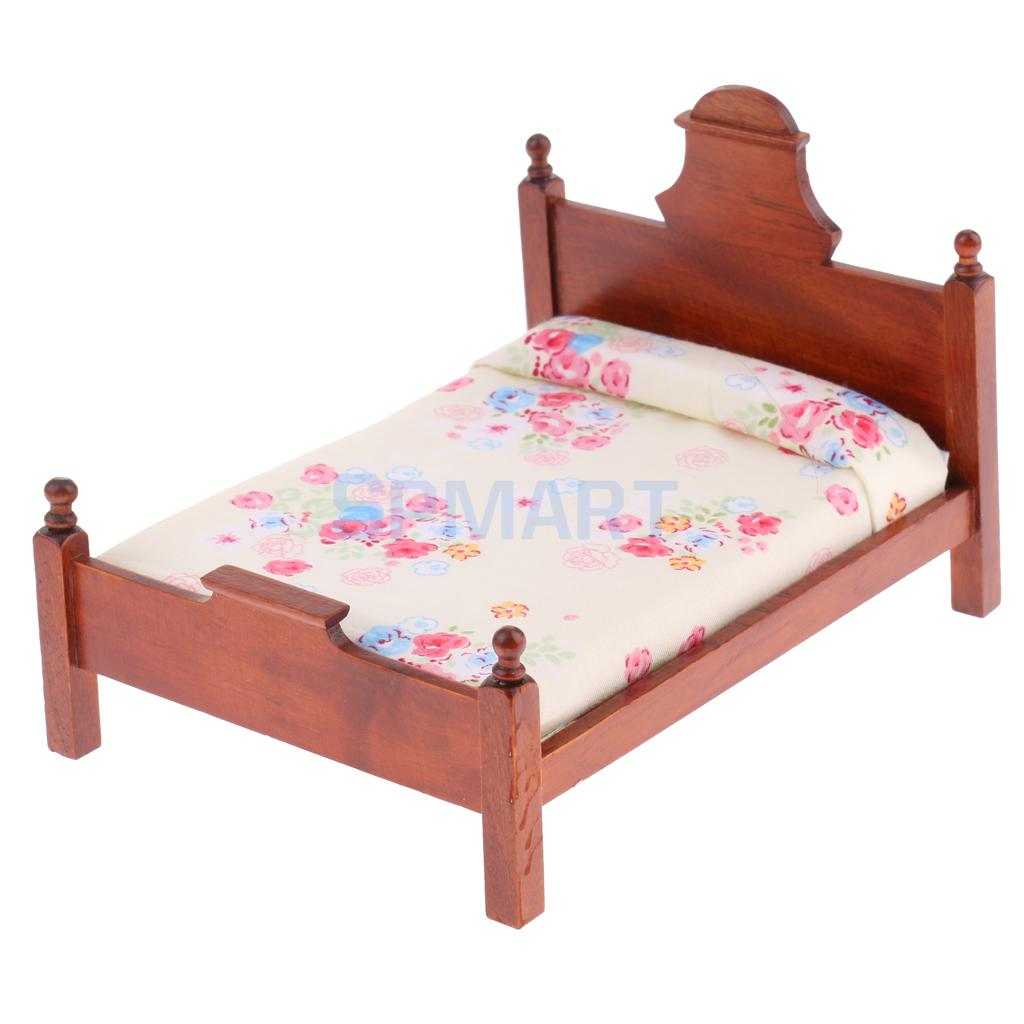 1/12 Scale Dollhouse Miniature Bedroom Furniture Floral Double Bed for 12th Dolls House Decoration Accessories