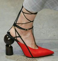 Sandals Women 2018 Summer Hollow High Heels Ankle Strap Pointed Toe Mixed Color Shoes Women Fashion Sexy Leather Zapatos Mujer
