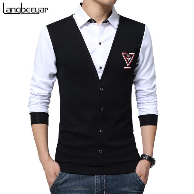 8dc557f7e9671 2017 New Trend False Two Fashion Casual Men Shirt Long Sleeve Slim Fit Shirt  Men Print