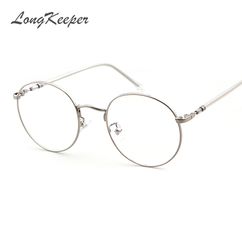 bedaed99e3 LongKeeper Korean Round Glasses Frame Clear Lens Women Men Retro Gold  Eyeglass Optic Frame Eyewear Vintage Spectacles P1657Q-in Eyewear Frames  from Apparel ...