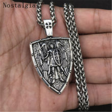Nostalgia Angel Shield Necklace Men Viking Warrior Archangel Michael Protection Amulet Russian Orthodox Cross Pendant Jewelry(China)