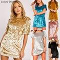 2017 New Fashion Women Clothing Elegant Party dresses Short Sleeve Velvet Short Casual Women Dress AXD3001