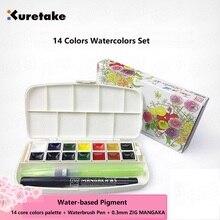 Kuretake 14 colors Watercolors set solid Water-based Pigment made in Japan