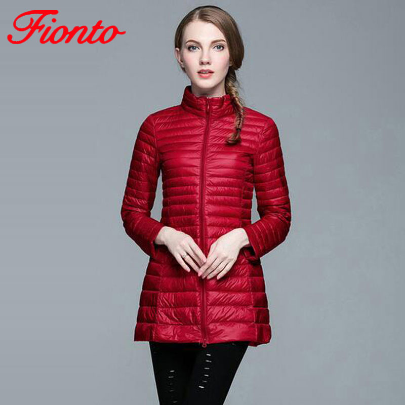 Plus Size 4XL 8 Colors Women Casual Ultralight   Down   Jacket with 90%   Down   10% Feather Casual Women Winter Long   Coat   Jacket A590