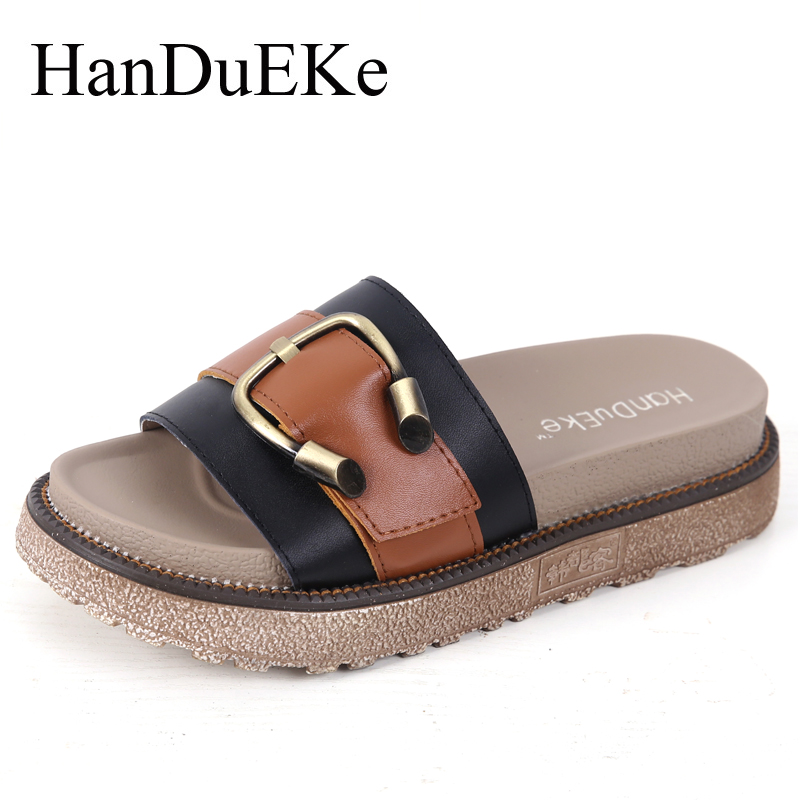 HanDuEKe 2017 Summer Cow Genuine Leather Women Shoes Fashion Mixed Colors Women Sandals Ladies Wedges Platform Beach Shoes Woman