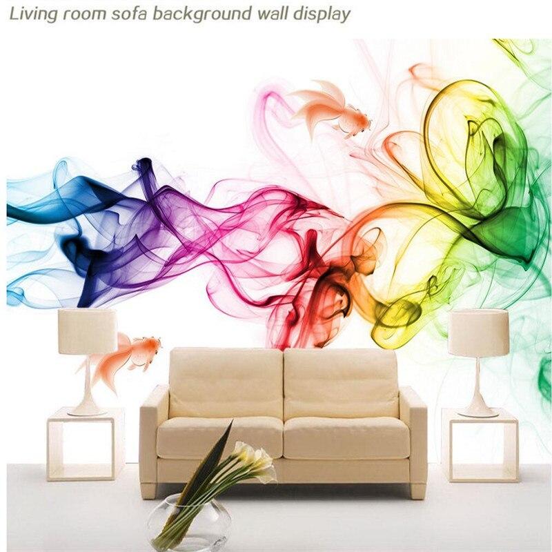 Photo papier peint Moderne géométrique des lignes tracées en fumée colorée Art salon avec canapé lit chambre toile de fond de papier peint