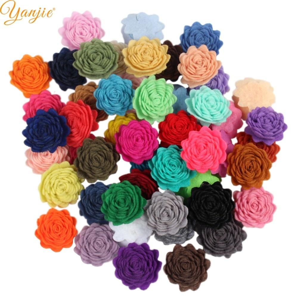 102pcs/lot 1'' Wool Felt Rose Flowers For Girls 2019 Birthday Party DIY Hair Accessories Kids Felt Flowers Hair Bow Headbands