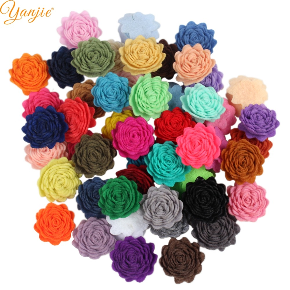 102pcslot 1 Wool Felt Rose Flowers For Girls 2018 Birthday Party