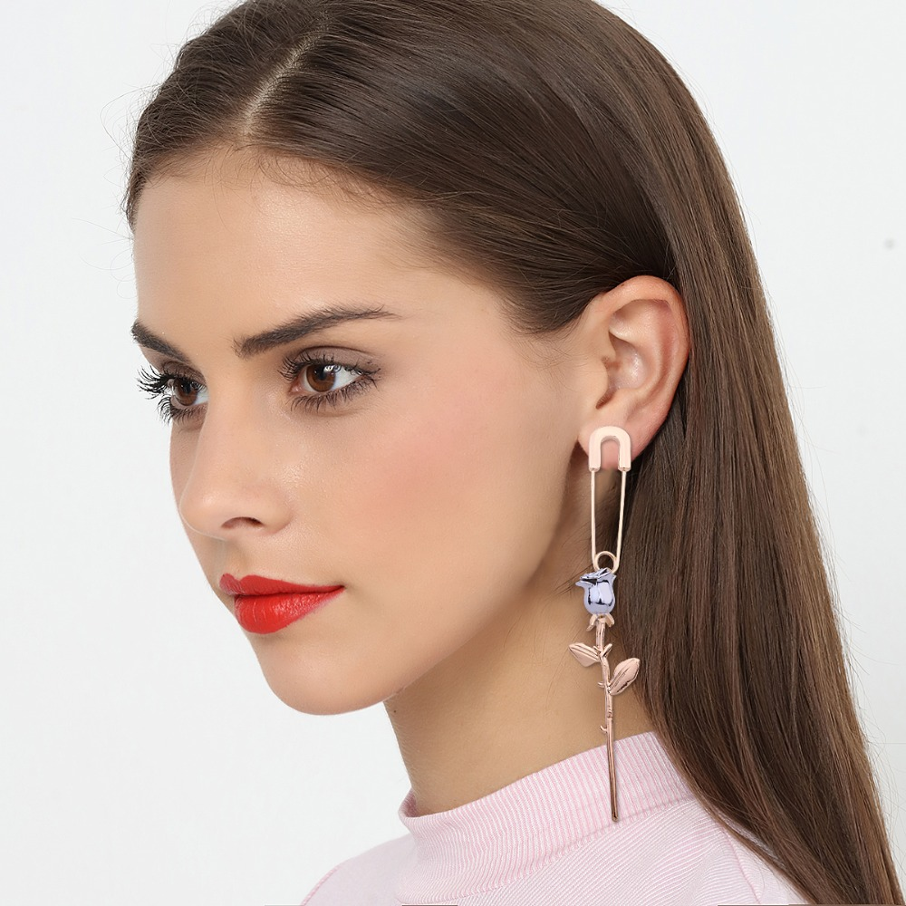 Simple Style Single Flower Drop earring Safety Pin sigle Earrings Women Costume Jewelry  ...