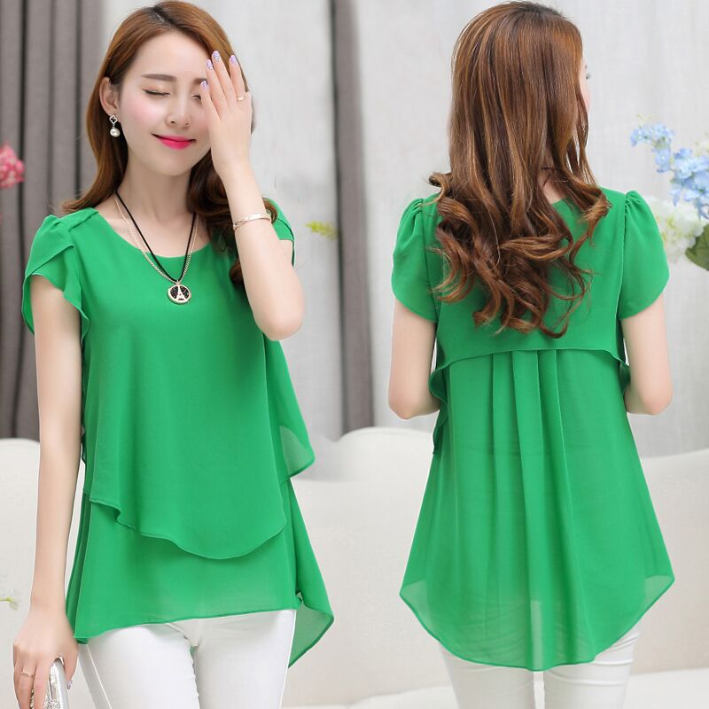 f54b2e33c3421 Plus Size Women Tops Chiffon Double Ruffles Irregular Short Sleeve Blouses  Shirts Pure Black Green Rose Blue Purple Shirt Blusas-in Blouses   Shirts  from ...