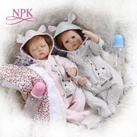 NPK 40CM very soft silicone reborn premie baby twins in pink and blue dress Birthday Gift collectible toy