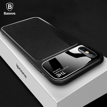 Baseus Luxury Phone Case For iPhone X 10 Capinhas Soft TPU & Glass Back Cover Fitted Case For iPhone 8 7 Plus Coque Fundas