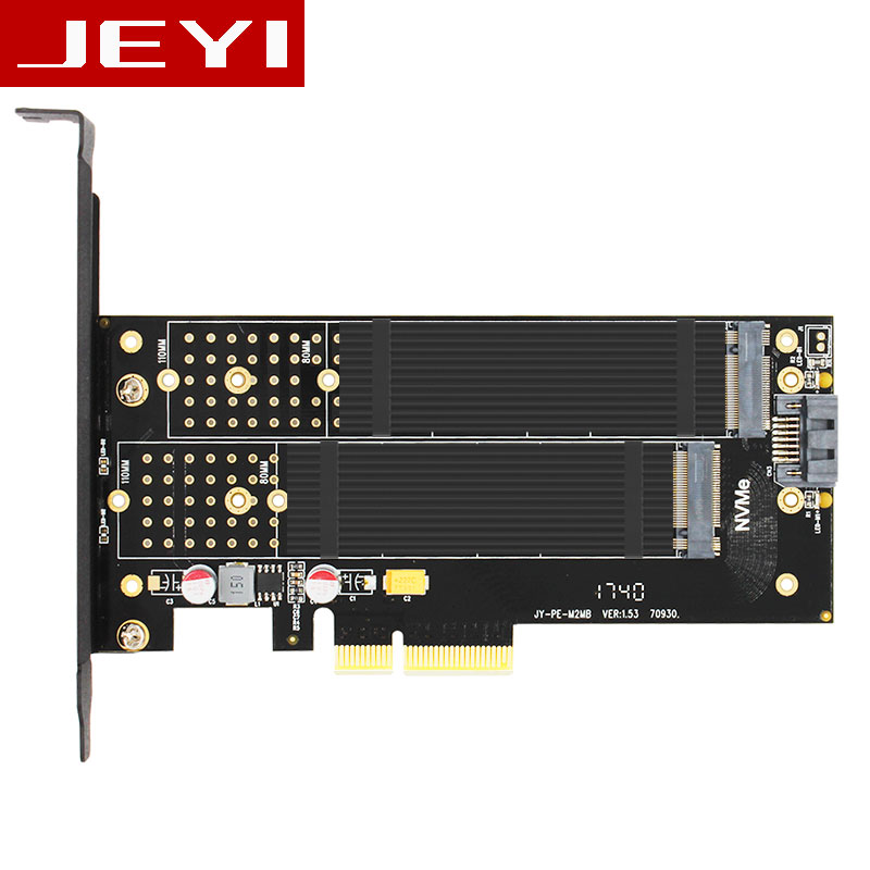 JEYI SK7-Top M.2 NVMe SSD NGFF TO PCI-E X4 3.0 adapter M Key B KEY Dual interface card PCI Express3.0 Dual voltage 12V+3.3V SATA jeyi cooling warship copper m 2 heatsink nvme heat sink ngff m 2 2280 aluminum sheet thermal conductivity silicon wafer cooling