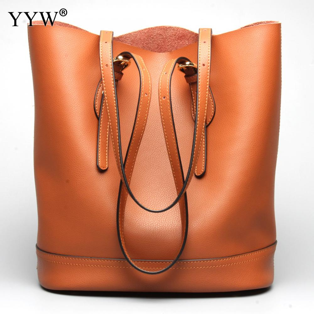 Brand Luxury Women's PU Leather Handbags Brown Two Strap Shoulder Bag for Women 2018 New Bucket Bags Famous Lady's Shopping Bag fashionable retro pu leather one shoulder messenger bag for women brown 120cm strap