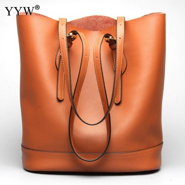 1ddc1da3bf7 Brand Luxury Women s PU Leather Handbags Brown Two Strap Shoulder Bag for Women  2018 New Bucket