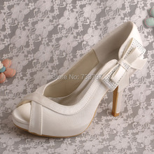 Wedopus MW477สตรีP Eep Toeโบว์รองเท้าแต่งงานเจ้าสาวรองเท้าส้นสูงDropship