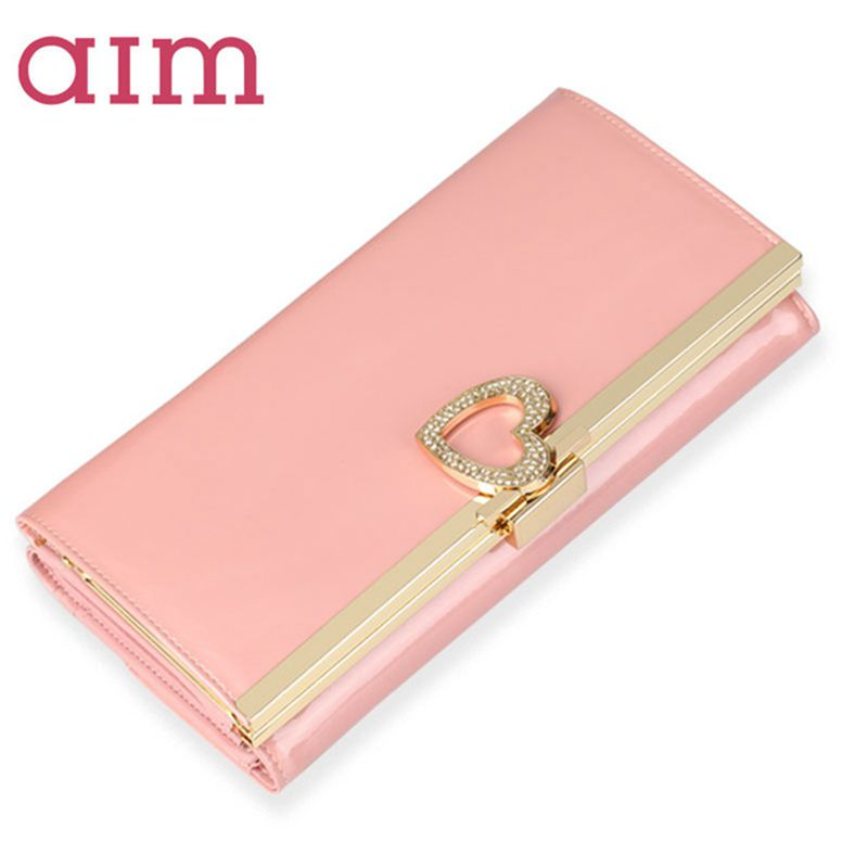 AIM Large Capacity Fashion Leather Wallet for Women Brand Trifold Pink Clutch Bags Long Coin Purse Female Phone Card Holder N041 aim fashion women s long clutch wallet and purse brand designer vintage leather wallets women bags high quality card holder n801