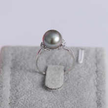 YS  9-10mm Natural Tahitian Cultured Pearl Ring 925 Sterlng Silver Pearl Ring