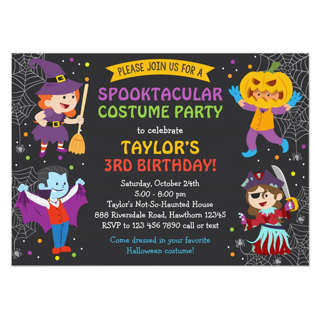 personalized halloween birthday invitation costume party kids