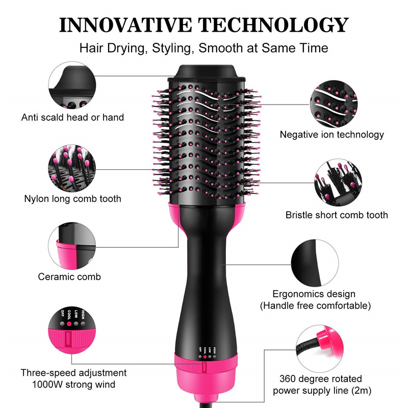 Tangle Hairbrush Detangling Comb for Hair One Step Hair Blower and Volumizer Brush 3 In 1 Dryer Straightener Curler Styling Comb 2