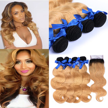 Wholesale Brazilian Virgin Ombre Hair Weave With Closure Brazilian Body Wave Human Hair 4 Bundles With 1pcs Lace Closure