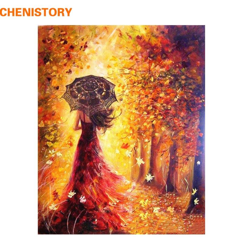 CHENISTORY Belle Femmes Automne Paysage Peinture DIY Par Les Kits de Nombres Coloration Peinture Par Numéros Moderne Mur Art Photo Cadeau