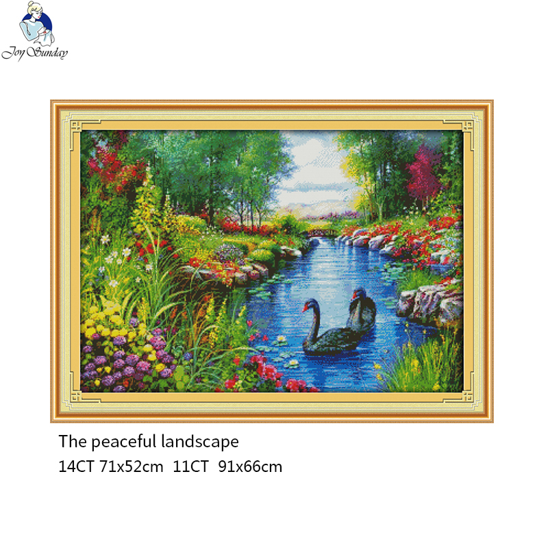The Peaceful Landscape Counted Cross-stitch 11CT Printed Fabric 14CT Canvas DMC Chinese DIY Handmade Embroidery Set Crafts