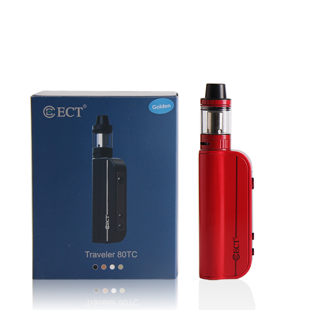 Original ECT Traveler 80TC Mod Kit 80W Electronic Cigarette Box 2200mAh Battery 510 Thread 2.0ml Atomizer Starter Kit Big Vape
