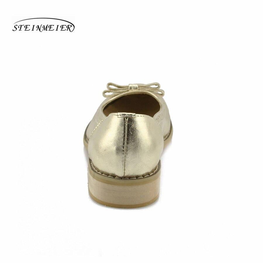 other À Rond Chaussures Plat Oxford Casual 100 Color En gold Richelieu Rétro Arc La Véritable Silver Main Femmes D'été brown Cowskin Argent Bout Cuir Or wXBxX6O
