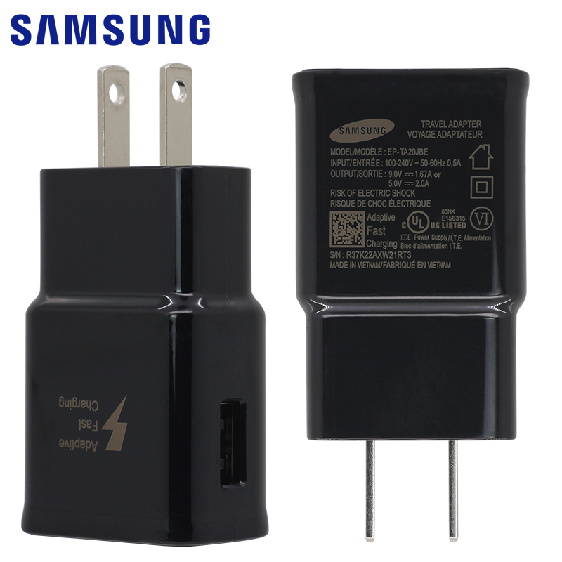 SAMSUNG Original Fast Wall Charger US EU Plug for Galaxy S6 S7 edge Note 4 5 Adaptive Fast Charge 9V 1.67A USB Micro Cable 1.5m