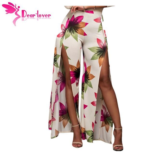 Querido-Amante pantalones anchos de la pierna de Otoño Con Estilo Mujeres de la Alta Cintura de la Impresión Floral Hendidura Palazzo Loose Pantalones Largos Pantalones Mujer LC79901