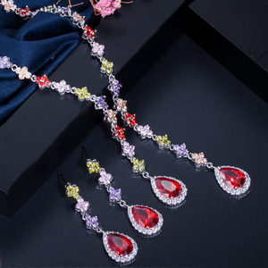 Image 2 - CWWZircons Beautiful Green and Red CZ Zirconia Stone Jewelry 4 Leaf Long Drop Party Necklace Earrings Sets for Women T225