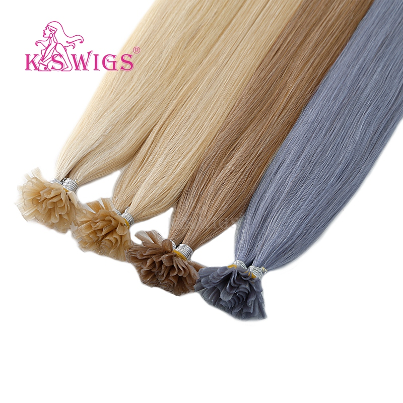 K.S WIGS Remy Capsule Nail U Tip Human Hair Extensions Keratin Pre bonded Double Drawn Straight Fusion Hair 16'' 20'' 24'' 28''