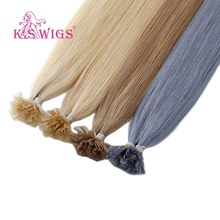 KS PRUIKEN Remy Capsule Nail U Tip Human Hair Extensions Keratine Pre bonded Double Drawn Straight Fusie Haar 16'' 20 ''24'' 28''(China)