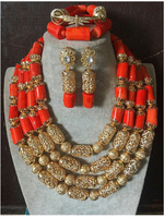 Fabulous 4 Layers Dubai New Jewelry Accessories African Coral Bridal Jewelry Set 2017 Free Shipping CNR657