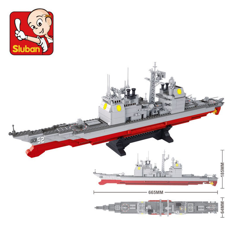 Sluban 883Pcs Military Series Army NAVY Warship Model Building Blocks CRUISER Plane Carrier Bricks Gift toys for children free shipping 5pcs 5l0265r in stock
