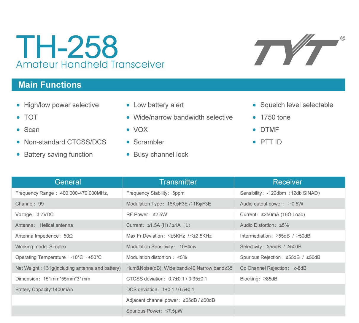 TYT Pocket Two-Way radio TH-258 portable transceiver Walkie Talkie 6 color  for you choose PMR Woki Toki