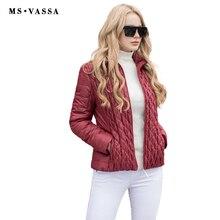 MS Vassa весной парки Короткие Куртка с хлопковой подкладкой 2017 мода лоскутное дамы эластичный пальто Большие размеры 6XL 7XL верхняя одежда