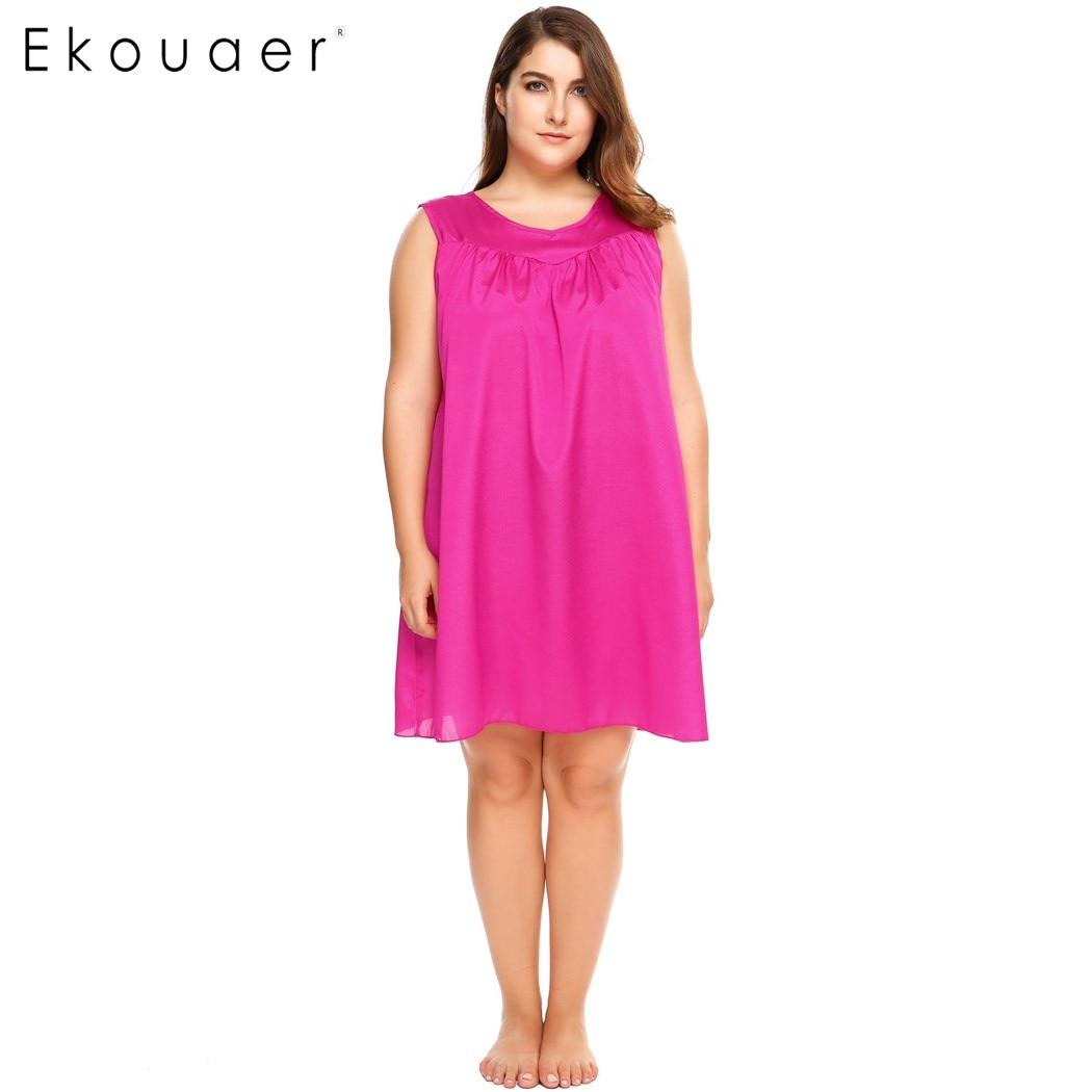 Ekouaer Women Plus Size Sleepwear V-Neck Sleeveless Solid Above Knee Loose Fit Nightgown Night Dress Female Nightwear 3XL 4XL
