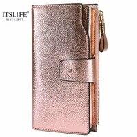 ITSLIFE 2019 женский бумажник из натуральной кожи с блокировкой RFID, Длинный кошелек на молнии, футляр для карт, Дамский кошелек для монет Iphone