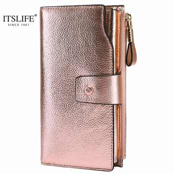 ITSLIFE 2019 Women Genuine Leather RFID Blocking Functional Wallet Zipper Long Glint Card Holder Ladies Coin Purse Iphone - DISCOUNT ITEM  40% OFF All Category