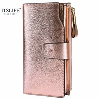 ITSLIFE New Women Genuine Leather RFID Blocking Functional Wallet Vintage Long Glint Card Holder Zipper Coin