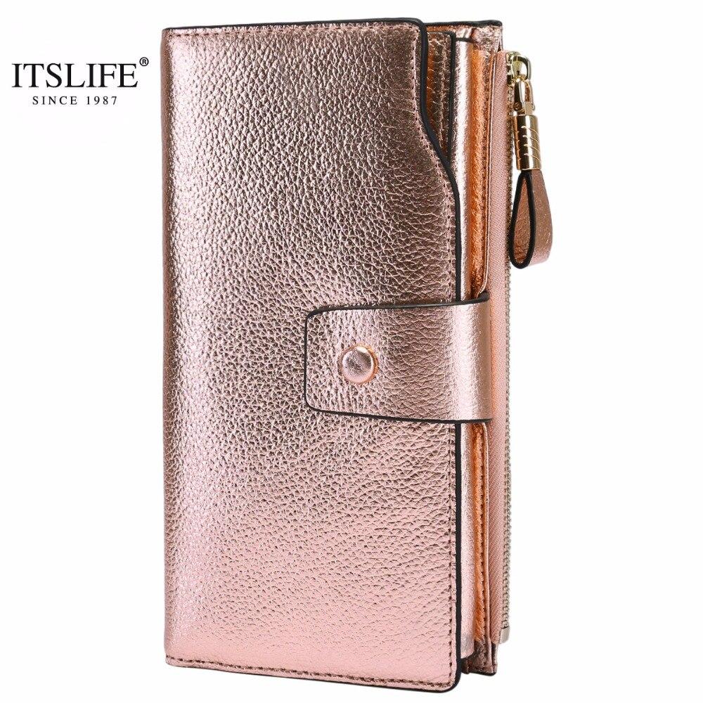ITSLIFE Neue Frauen Echtem Leder RFID Sperrung Funktionale Brieftasche Vintage Lange Glint Karte Halter Zipper Geldbörse Iphone Galaxy