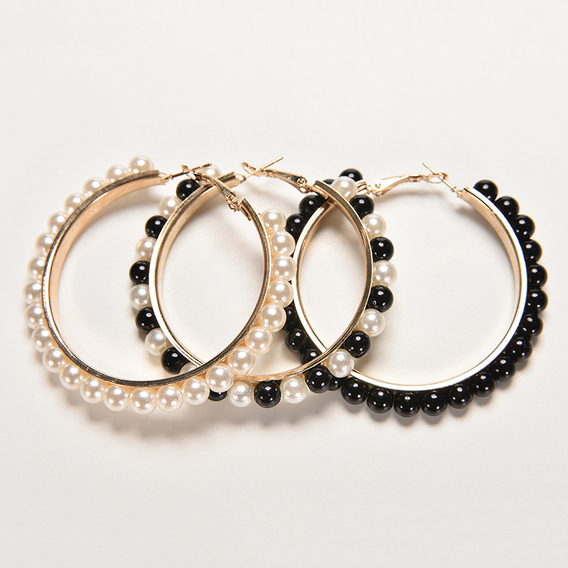 Big Hoop Earrings Chic Beads Hoop Earrings Wedding Faux ...