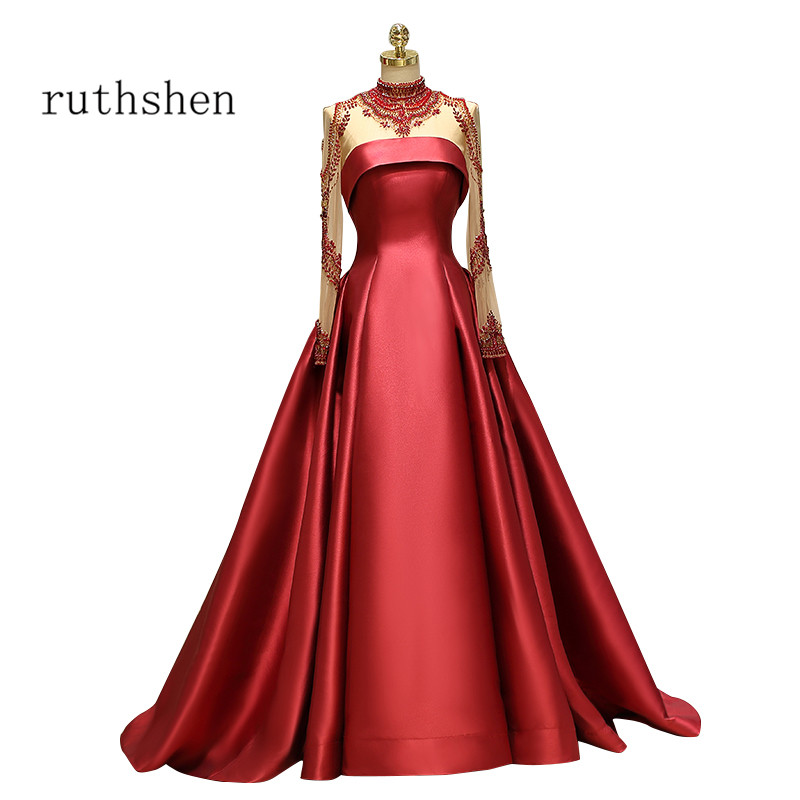 ruthshen Vintage Ball Gown   Prom     Dresses   2018 Formal Party   Dress   High Neck Long Transparent Sleeves Vestido De Formatura Gowns