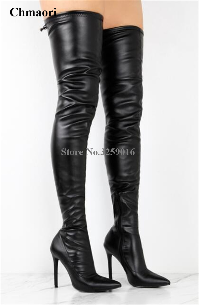 New Fashion Women Pointed Toe Black Leather Over Knee Thin Heel Boots Sexy Bandage Slim Style Thigh High Heel Long Boots цена 2017