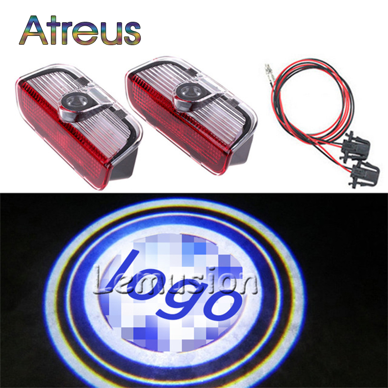 Atreus 2X LED Courtesy Lamp Car Door Welcome Light 12V Projector Shadow Styling For Skoda Superb 2009-2014 Accessories jingxiangfeng 2 pcs led ghost shadow courtesy welcome light car door projector lamp with logo case for skoda superb 2009 to 2014