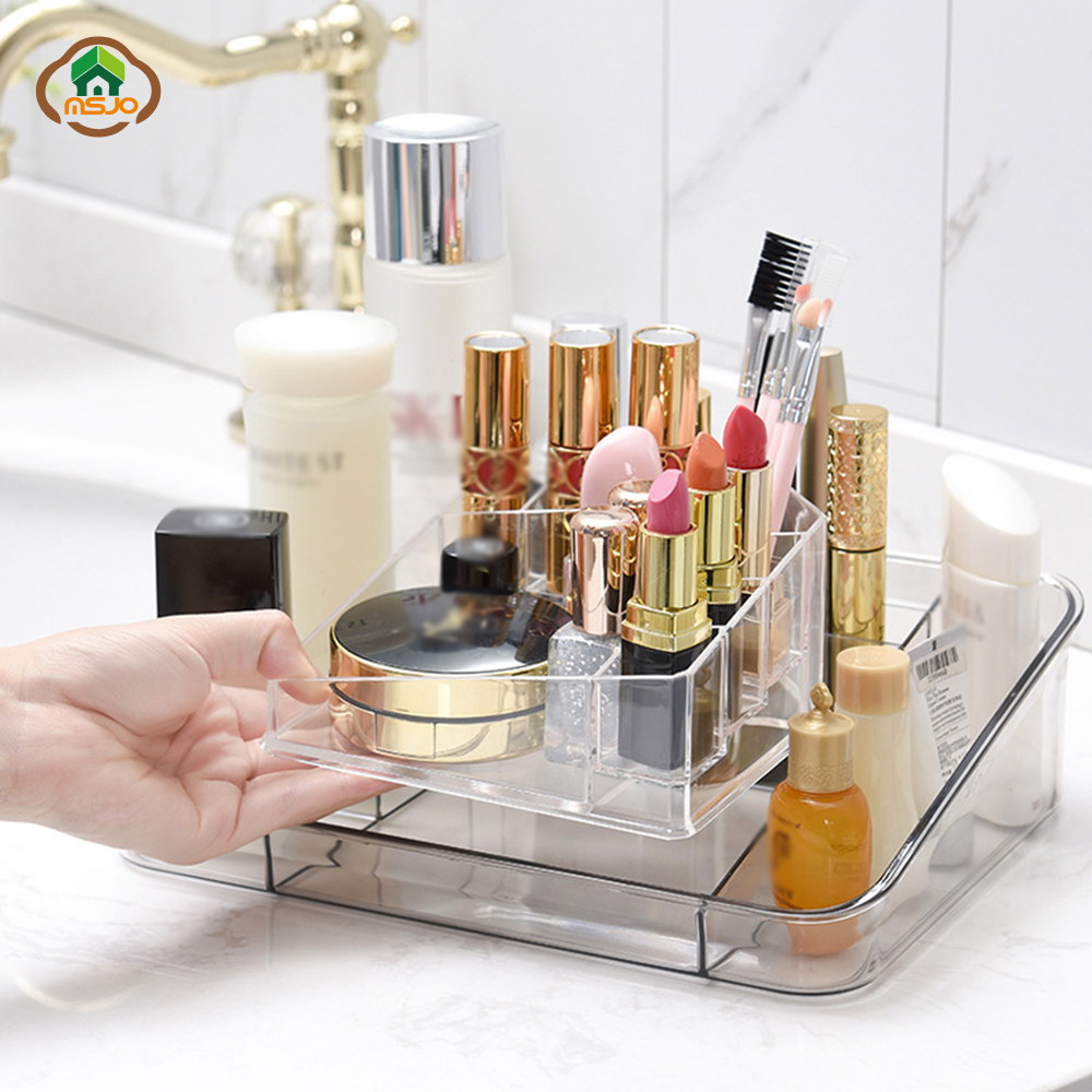 MSJO Plastic and Transparent Makeup Organizer to Organizer Jewelry Nail Polish Lipstick suitable for Office Desk and Dressing Table 1