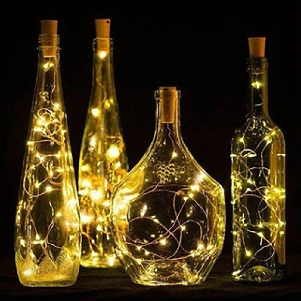LED Light Wine Bottle Copper Wire String light bulb Cork Festival Party Decor